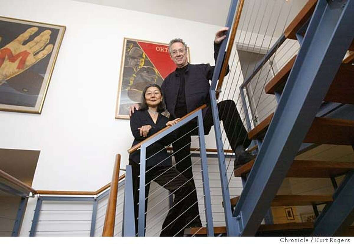 Ray and his wife on the the stairs leading to the second floor of there remoodeled farmhouse . Doors keyboardist Ray Manzarek and his wife Dorothy and thir remoodeled farmhouse in Napa . Event on 1/27/04 in Napa. KURT ROGERS / The Chronicle