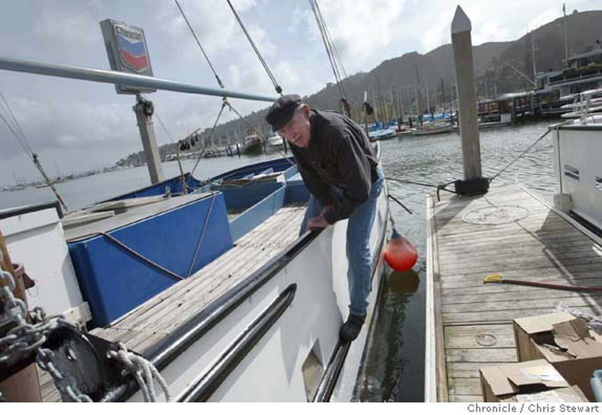 Event on 2/24/04 in Sausalito. Joe Sheean,78, stands aboard the