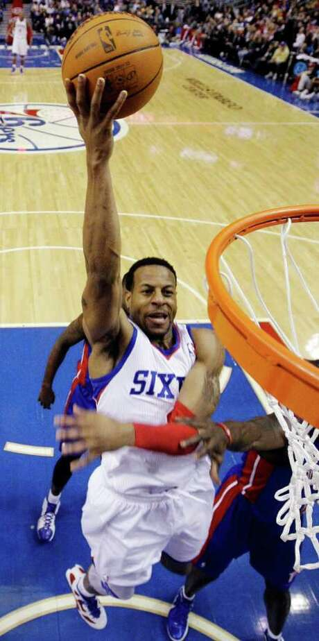 Andre Iguodala earned his eighth career triple-double Saturday in the 76ers' win over the Pistons. Photo: Matt Slocum / AP