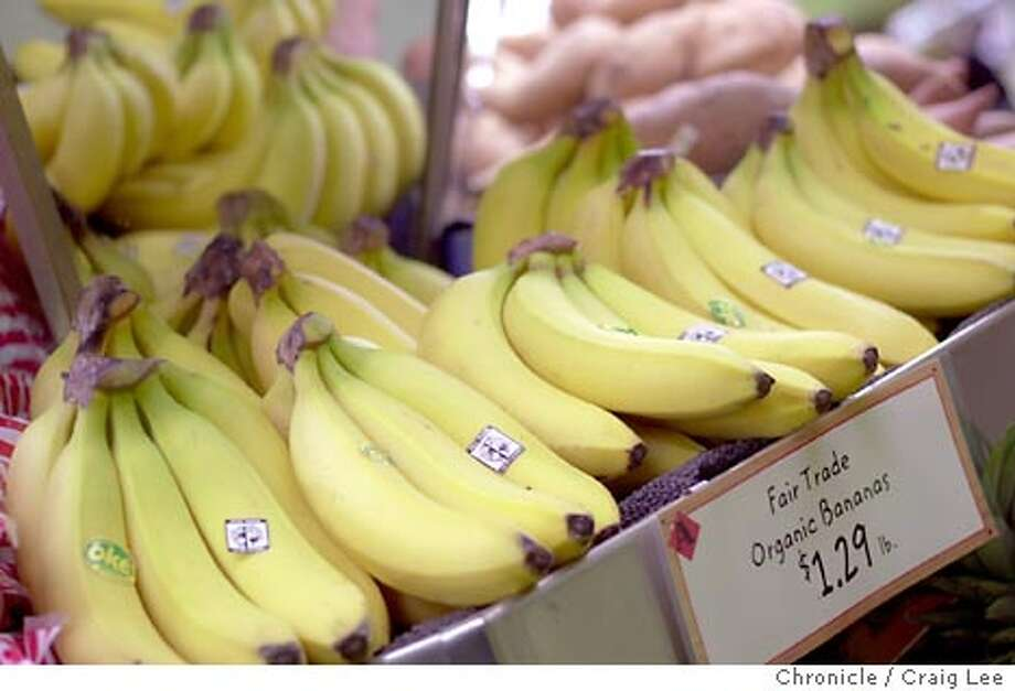 WHATS11053_cl.jpg  What's New column on fair trade fruit entering Bay Area markets. Photo of fair trade bananas at Andronico's Market in San Francisco.  Event on 2/5/04 in San Francisco.  CRAIG LEE / The Chronicle Photo: CRAIG LEE