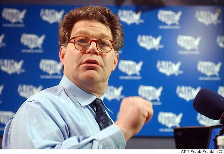 Comedian Al gestures while talking during a break in the debut broadcast of his radio show 'The O' Factor', a liberal alternative to conservative talk radio at Air America studios Wednesday, March 31, 2004, in New York. (AP Photo/Frank Franklin II) Host Al gestures while talking during a break in the first broadcast of his daily talk show called &quo;The O' Factor,'' a liberal alternative to conservative talk radio on the Air America Radio network. Political satirist Al is leading the liberal charge on talk radio against conservatives with his show on Air America Radio. Photo: FRANK FRANKLIN II
