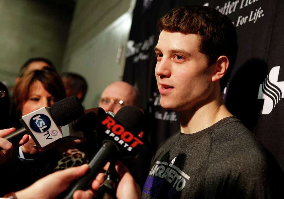 Sacramento Kings guard Jimmer Fredette talks to the media before an NBA basketball game against the Utah Jazz, Saturday, Jan. 28, 2012, in Salt Lake City. Fredette played college basketball at BYU in Provo, Utah. Photo: AP