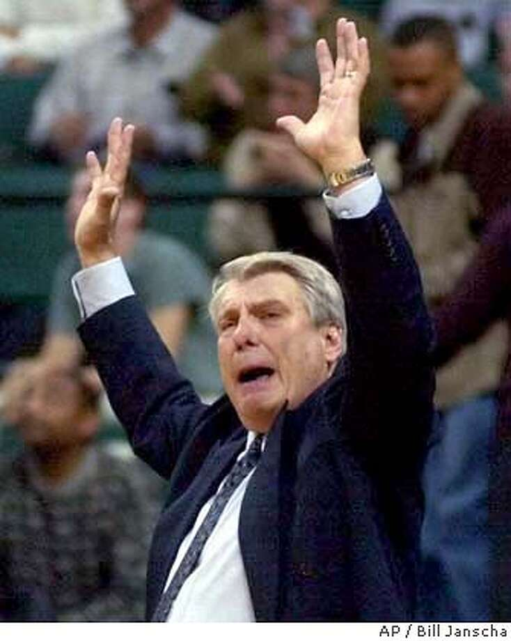 FILE--Dallas Mavericks coach Don Nelson reacts his team's play against the Houston Rockets during the fourth quarter in Dallas, Dec. 30, 2000. Nelson hopes to return from prostate cancer surgery and start coaching the Mavericks again on Feb. 20, 2001, against Shaquille O'Neal and the Los Angeles Lakers.(AP Photo/Bill Janscha) CAT Photo: BILL JANSCHA