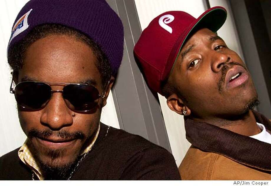 "**FILE**Andre Benjamin, left, who is known as Andre 3000, poses with his partner in the rap group OutKast, Antwan Patton, known as Big Boi, pose in New York on Oct.30 2003. Benjamin has been chosen for a role in an upcoming sequel to the movie ""Get Shorty.'' He will appear in the film ""Be Cool'' as a member of a rap group called Dub MDs. Shooting began this week in Los Angeles. Benjamin joins a host of other rappers, such as Ice Cube and LL Cool J, who are crossing over into film. Benjamin's first movie role was in last year's film ""Hollywood Homicide,'' which starred Harrison Ford. (AP Photo/Jim Cooper) AN OCT 30 2003 FILE PHOTO Photo: JIM COOPER"