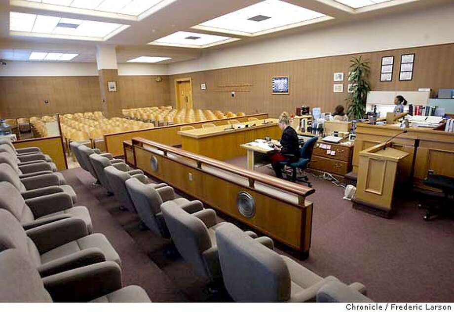 ; Court room 2M, 150 seats oin the San Mateo County Superior Court is where Scott Peterson trail will be held just across the street from his one room jail cell at the Maguire Correctional Facility in Redwood City. Officials expect about 200 reporters, photographers and producers will cover the high-profile trial, scheduled to rev up with pretrial hearings Feb. 2  City:� 1/26/04, in Redwood City, CA. Frederic Larson/The Chronicle; Photo: Frederic Larson