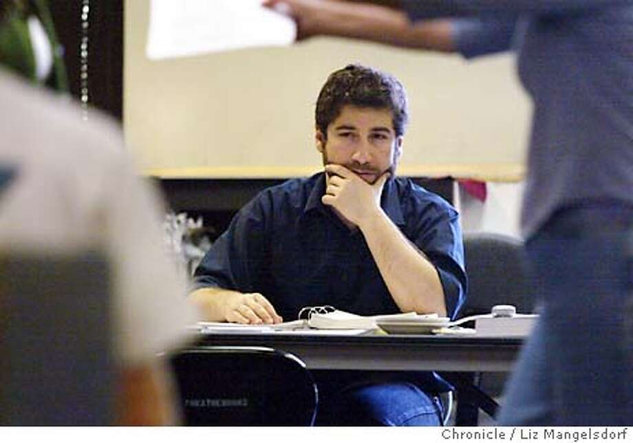 """Event on 3/18/04 in Palo Alto.  Writer and Director Scott Schwartz watches the actors during a rehearsal of the world premiere of his musical based on Willa Cather's novel """"My Antonia"""" at the TheatreWorks in Palo Alto.  Liz Mangelsdorf / The Chronicle Photo: Liz Mangelsdorf"""