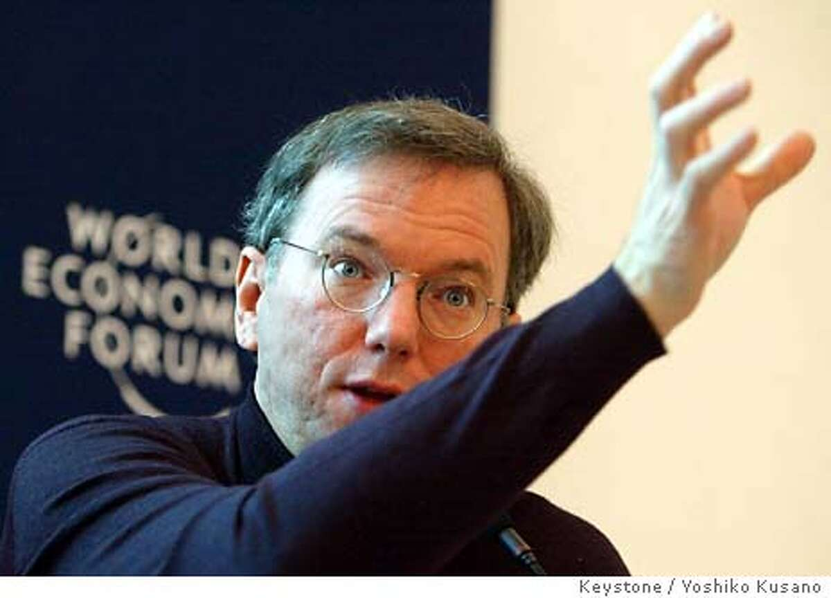 Eric Schmidt, CEO of Google, USA, speaks at a panel session at the Annual Meeting of the World Economic Forum in Davos, Switzerland, Friday, Jan. 23, 2004. (AP Photo/ Keystone / Yoshiko Kusano)