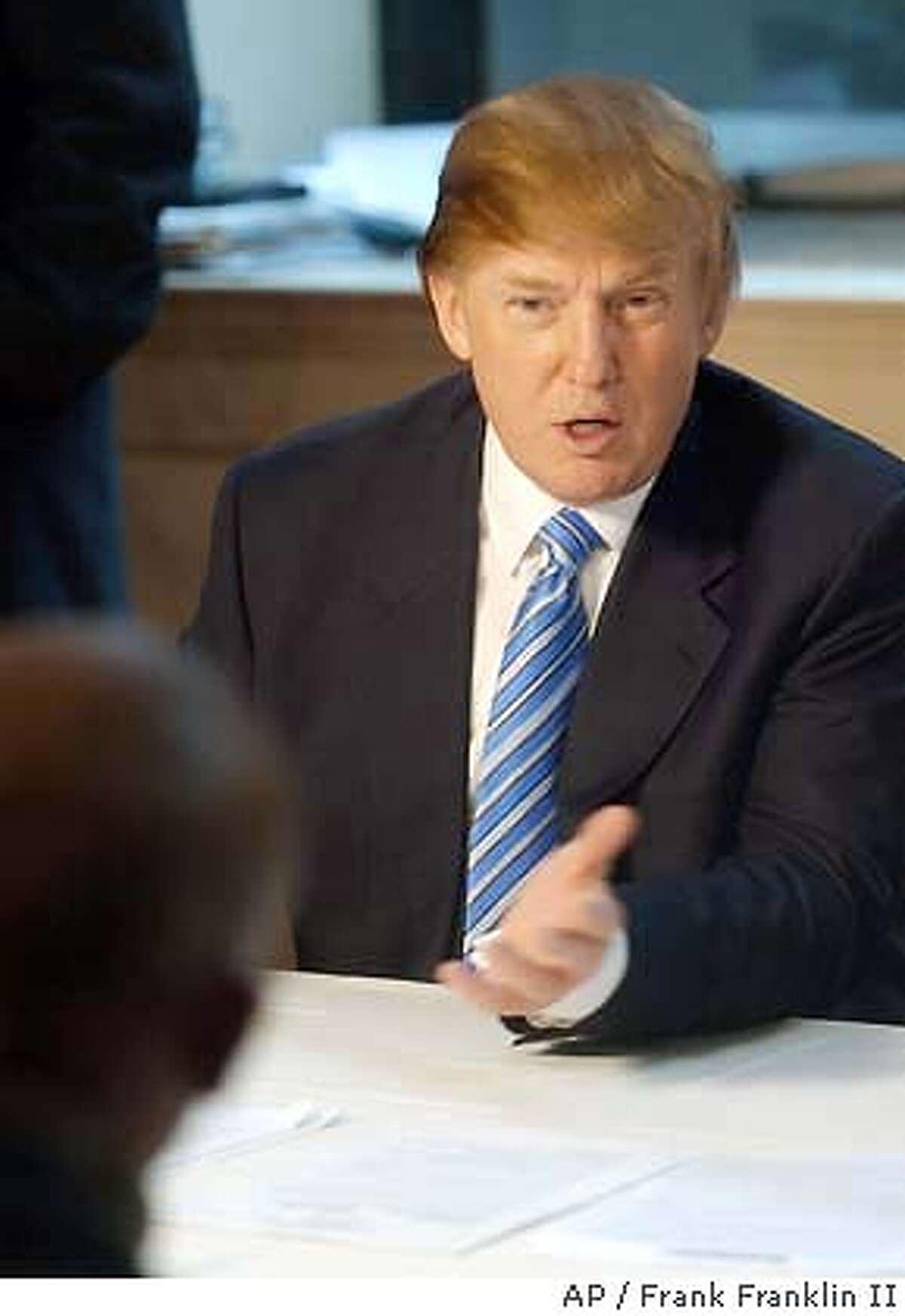 Billionaire developer Donald Trump, right, addresses a casting call for the second season of his televison show,