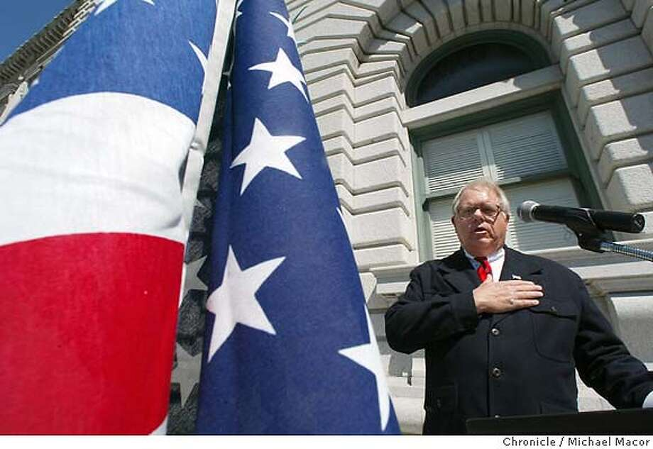 The event ended with the recital of the Pre -1954 Pledge of Allegiance. Jim Heldberg, Coordinator of San Francisco Atheists and American Atheists, National Affiliation Director leading the pledge. A rally defending the original, ALL AMERICAN Pledge if Allegiance, (that did not include the words, under god), on the steps of the Ninth Cicuit Court of Appeals Building in San Francisco. The event sponsored by the, American Atheists. event on 3/24/04 in San Francisco Michael Macor / San Francisco Chronicle Photo: Michael Macor