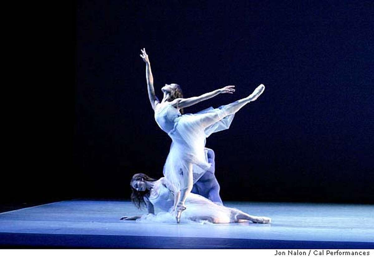 FARRELL09a_Serenade1.jpg for FARRELL09; April Ball (on pointe) and Bonnie Pickard (on floor) of the Suzanne Farrell Ballet perform George Balanchine's Serenade at Cal Performances November 14 & 15, 2003. photo: Jon Nalon/Cal Performances / The Chronicle MANDATORY CREDIT FOR PHOTOG AND SF CHRONICLE/ -MAGS OUT