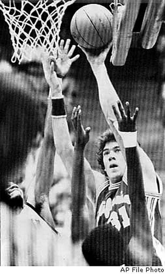 MAC/B/30JAN98/PF/AP--Cal's Mark McNamara scores 2 of his game high 21 points. PHOTO BY THE ASSOCIATED PRESS/1982