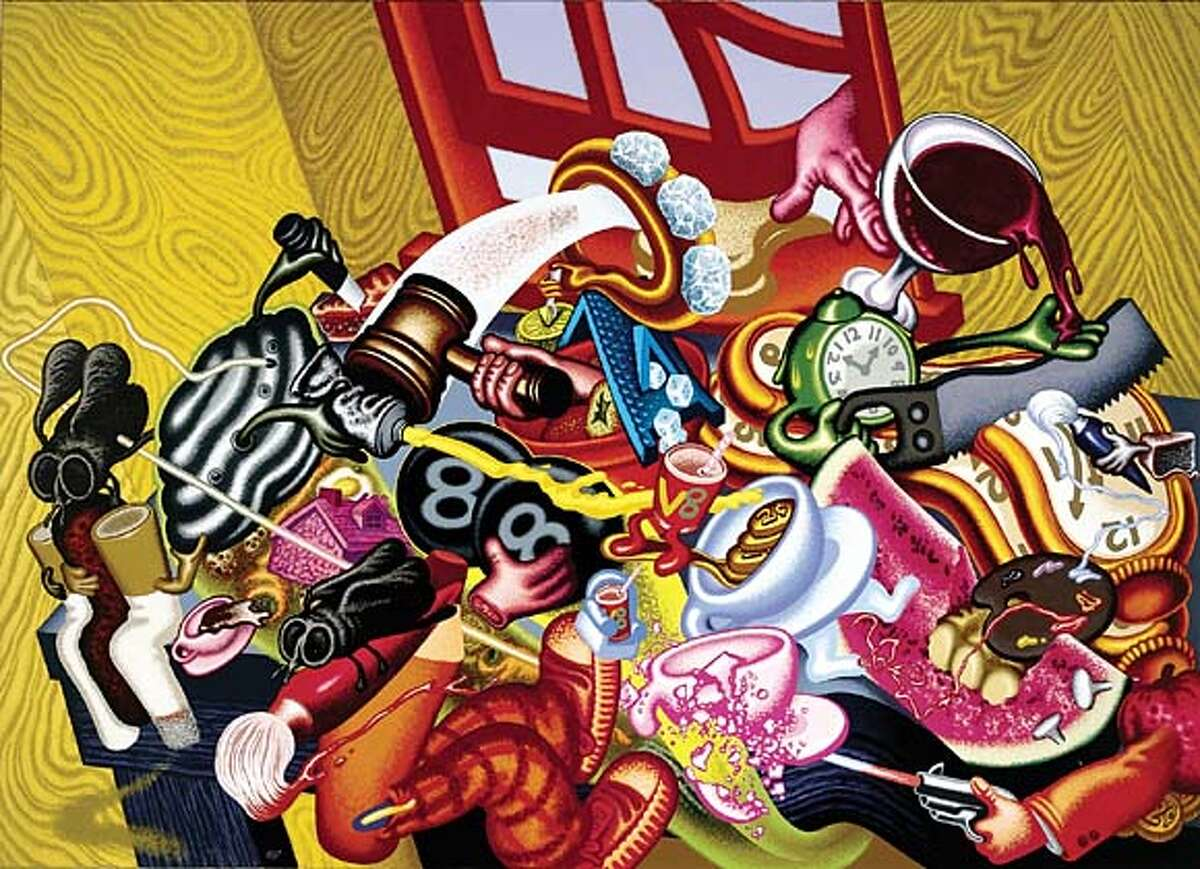 """GALS31 Peter Saul """"Still Life #1"""", 1996 Acrylic and oil on canvas, 78 x 108 in. Collection of Fine Arts Museums of San Francisco, Partial Gift of Rena G. Bransten"""