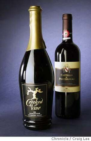 Photo of 2000 Crooked Sangiovese Vine Livermore Valley (left), and 2000 Castello Di Fonterutoli Chianti Classico Italy (right). Wine story on Italian-style wines made by California producers.  Event on 3/22/04 in San Francisco. Craig Lee / The Chronicle Photo: Craig Lee