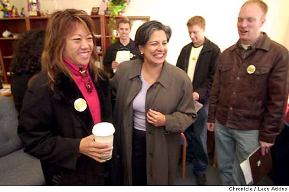 elexleal_043_LA.jpg  Fiona Ma is greeted by Mayoral canidate Susan Leal at Leal's westside headquarters in the Sundet distract when she encorages her supporters to get out and get votes, Tuesday morning Nov.4,2003, in San Francisco.  Lacy Atkins / The Chronicle MANDATORY CREDIT FOR PHOTOG AND SF CHRONICLE/ -MAGS OUT Photo: Lacy Atkins