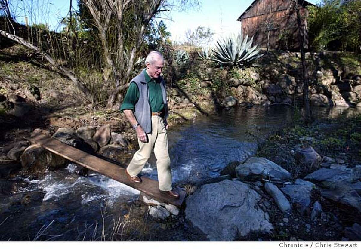 maps0016_cs.jpg Event on 1/20/04 in Healdsburg. Henry Wendt crosses a makeshift bridge over Wine Creek on his Quivare Winery property near Healdsburg, which he owns along with his wife Holly. The Wendts are helping restore the creek so steelhead can return to spawn. Chris Stewart / The Chronicle MANDATORY CREDIT FOR PHOTOG AND SF CHRONICLE/ -MAGS OUT
