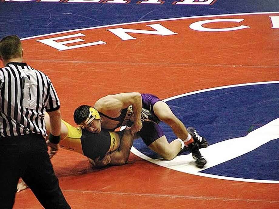 All-American Pacifico Garcia, shown in action here at the Division II Nationals in West Virginia, is the latest in a line of exceptional wrestlers at San Francisco State. / handout