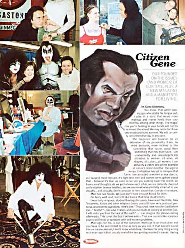 gene simmons tongue. page from the spring 2002 edition of gene simmons tongue magazine.