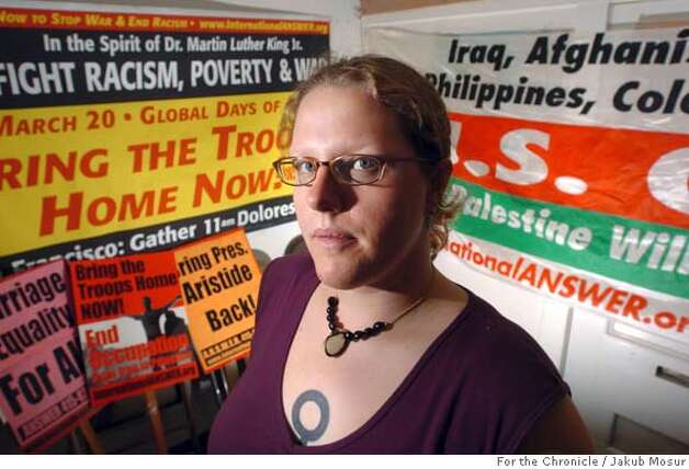 Nathalie Alsop helped organize anti-war demonstrations last year for International Answer and now volunteers for the organization at their office where she stands on 3/12/04 in San Francisco. JAKUB MOSUR / The Chronicle Photo: JAKUB MOSUR
