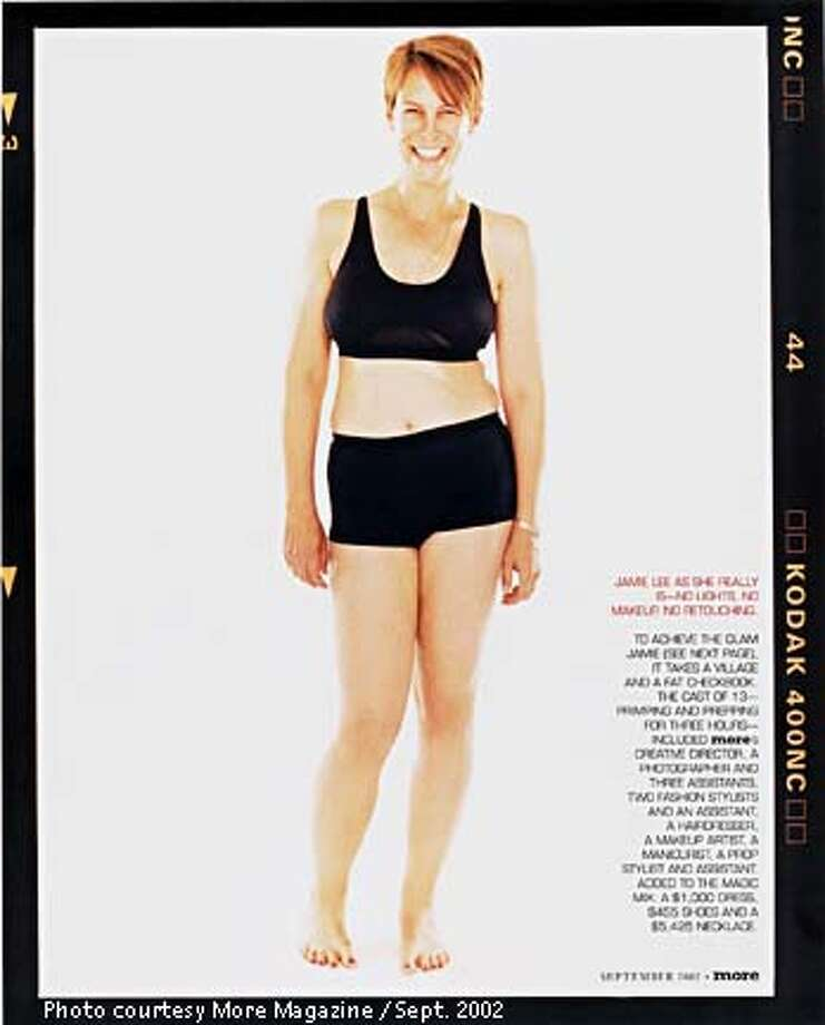 "Jamie Lee Curtis, before a three-hour makeover that involved the skills of 13 people. Of her self-esteem Curtis says: ""I need to be the person I look at every morning when I wake up and stand in the mirror, you know, kind of as God intended me to look."" Photo courtesy More Magazine September 2002"