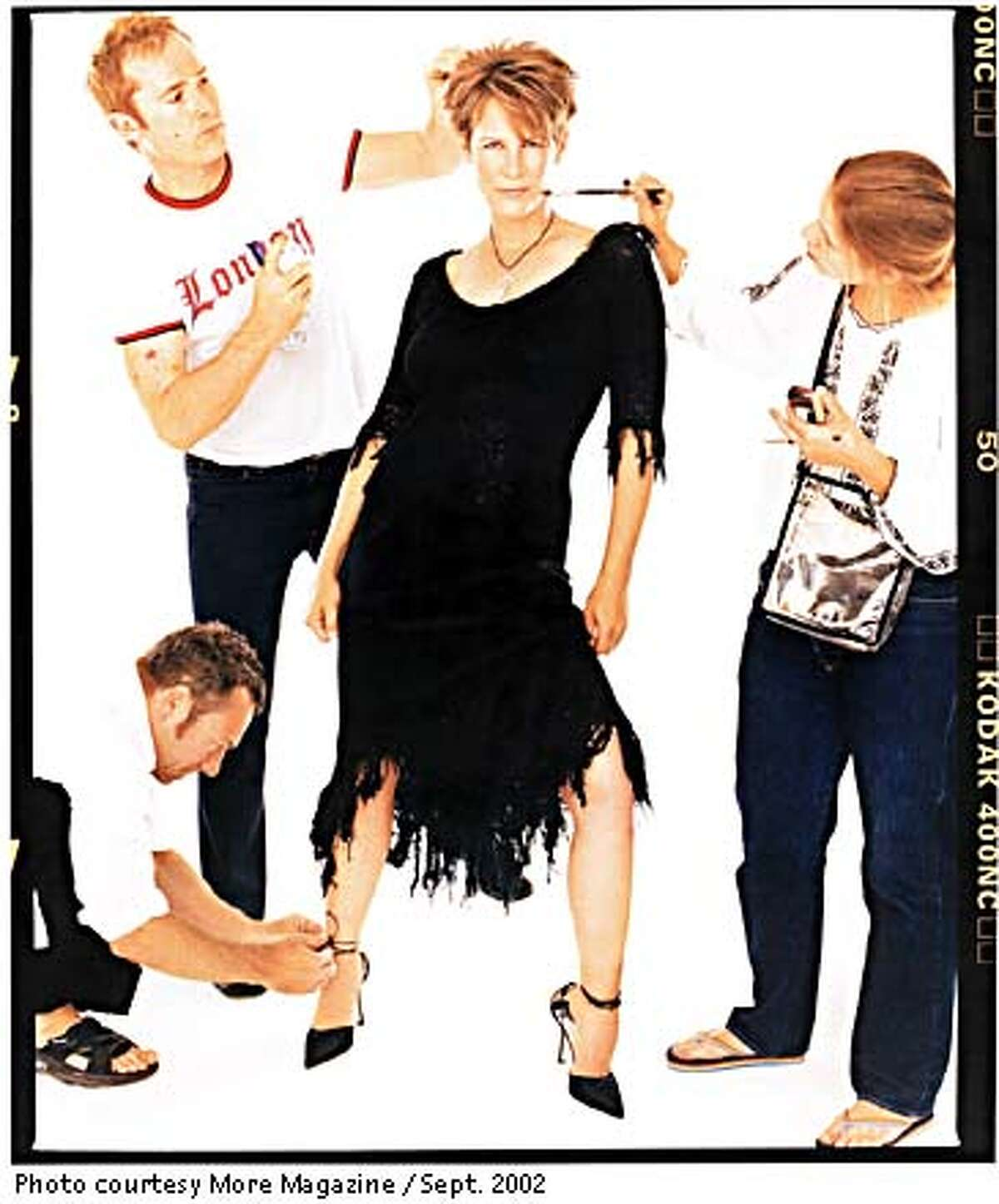 Jamie Lee Curtis after a three-hour makeover that involved the skills of 13 people. Photo courtesy of More Magazine, September 2002