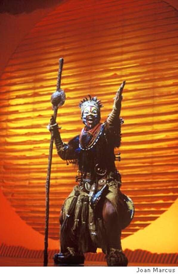 "LION KING.jpg  Thandazile A. Soni as ""Rafiki"" in the opening number ""The Circle of Life."" Photo: Joan Marcus; �Disney"