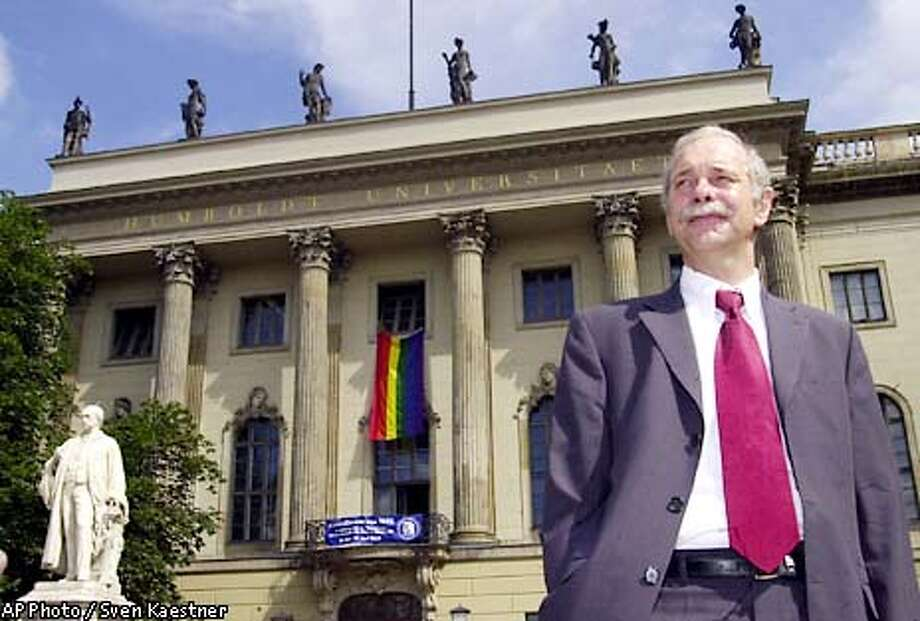 **SPCL FOR SAN FRANCISCO CHRONICLE** President of Berlin's Humboldt University, Juergen Mlynek, poses in front of the universities main buildung in the citiy of Berlin Friday, June 21, 2002. (AP Photo/Sven Kaestner) Photo: SVEN KAESTNER