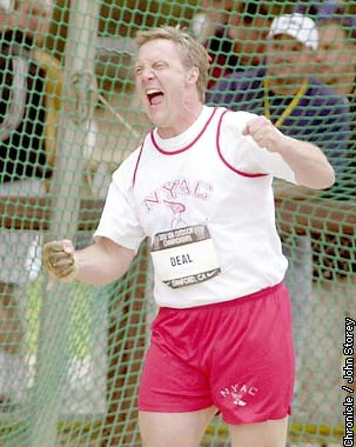 USTRACK-C-21JUN02-SP-JRS-The US Track and Field Championships at Stanford. Pictures from the Men's Hammer Throw. Lance Deal of the New York Athletic Club reacts to his second throw. Photo by John Storey. Photo: John Storey