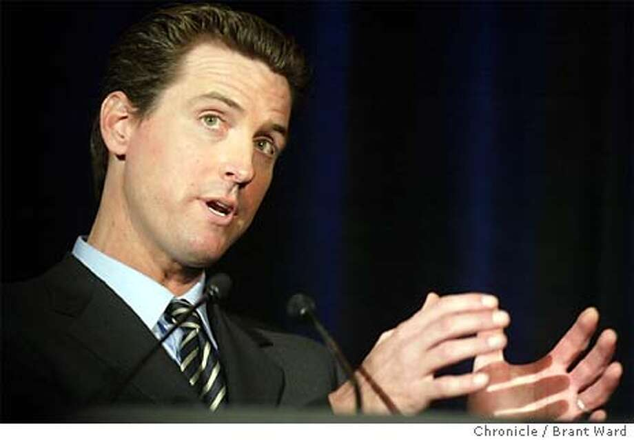 newsom003_bw.jpg Mayor Gavin Newsom spoke at the annual Chamber of Commerce CityBeat lunch Monday. He got a laugh after being introduced and kissed by new Chamber president Mary Huss...the audience then noticed the lipstick and he rubbed it off and went on with his speach. BRANT WARD / The Chronicle Photo: BRANT WARD