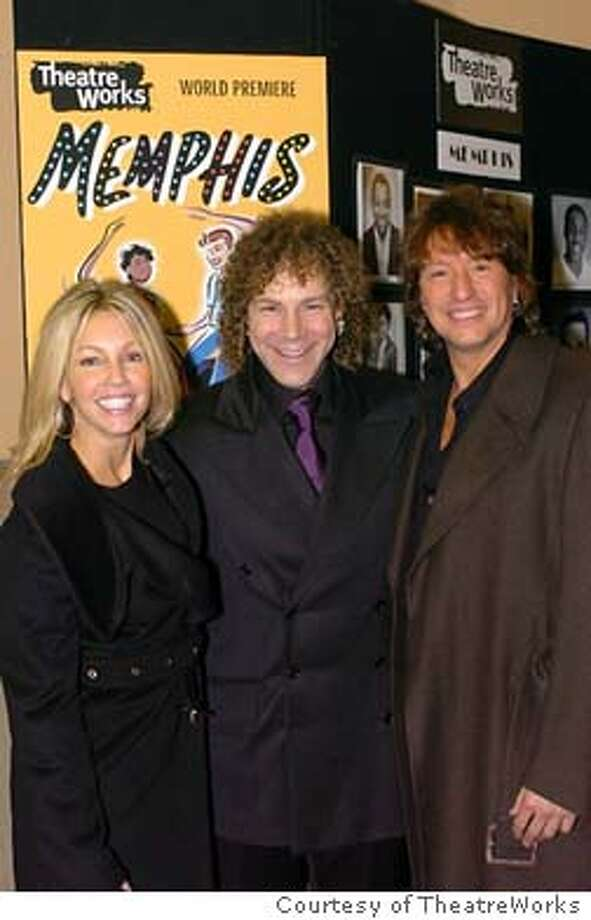 "Heather Locklear, Bon Jovie keyboardist David Bryan (composer of MEMPHIS) and Bon Jovi Guitarist Richie Sambora, at Saturday night's opening performance of ""Memphis"" at TheatreWorks. / handout"
