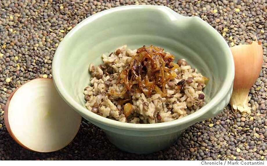 Photo taken on 1/9/04 in San Francisco.  For The Working Cook column called mujadera, a combination of rice and lentils with caramelized onions.  CHRONICLE PHOTO BY MARK COSTANTINI Photo: MARK COSTANTINI