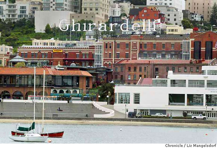 Event on 5/6/03 in San Francisco.  Ghirardelli Square, the former chocolate factory that is on of Sf's most popular tourist attractions, is very close to being put up for sale. Photo from the pier at Aquatic Park. Photo: LIZ MANGELSDORF