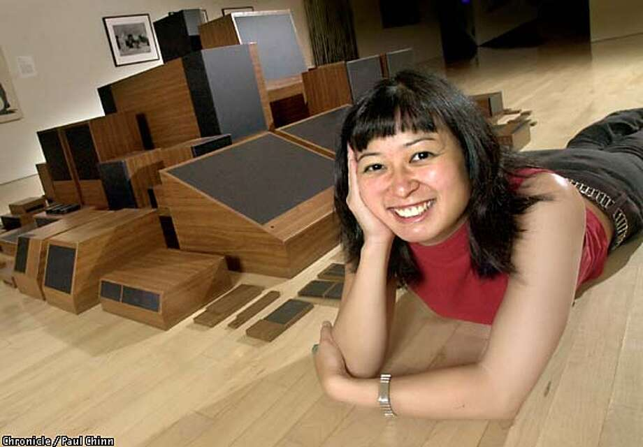 """Artist Stephanie Syjuco with """"Condensed Home Entertainment Units."""" Chronicle photo by Paul Chinn"""