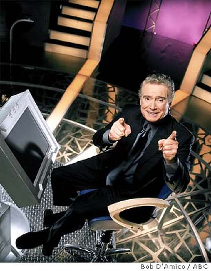 """WHO WANTS TO BE A MILLIONAIRE-The program with popular host, Regis Philbin, will become a regular part of the network's primetime lineup beginning on """"ABC's Super Tuesday,"""" JANUARY 11, 2000 (8:00-9:00 p.m., ET) on the ABC Television Network. """"Millionaire"""" will then air in hour-line installments on Tuesday, Thursday (9:00-10:00 p.m.) and Sunday nights (9:00-10:00 p.m.). Photo cr: Bob D'Amico / ABC. ALSO RAN 12/4/2000 Photo: BOB D'AMICO"""