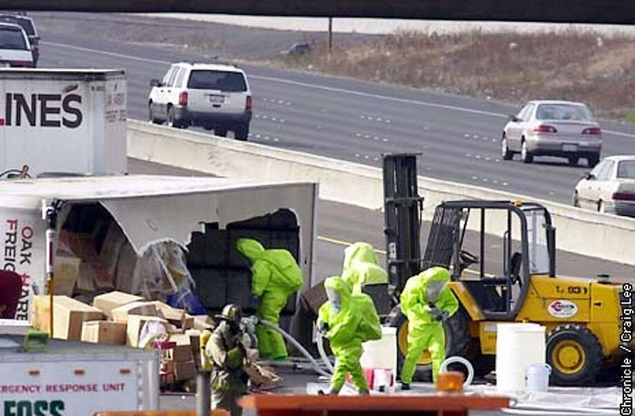 Overturned truck carrying hazardous chemicals closes down northbound Freeway 880. The accident happened near the Thornton Avenue exit. Photo by Craig Lee/San Francisco Chronicle Photo: CRAIG LEE