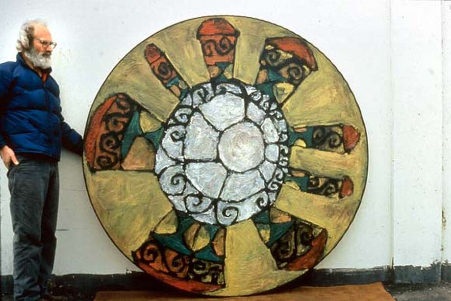 """WALLY , 1958 WITH """"DECOROUS IMAGE""""  OIL ON CANVAS, 72"""" DIAMETER  GALLERY PAULE ANGLIM, 14 GEARY ST, SF 94108"""