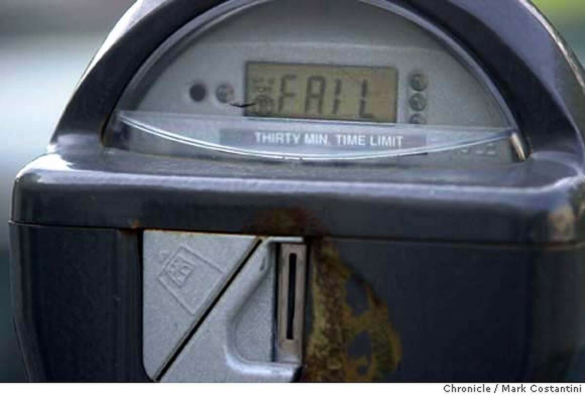 meters_0046.JPG Photo taken on 1/23/04 in Berkeley. Broken parking meter on Allston Way. CHRONICLE PHOTO BY MARK COSTANTINI MANDATORY CREDIT FOR PHOTOG AND SF CHRONICLE/ -MAGS OUT