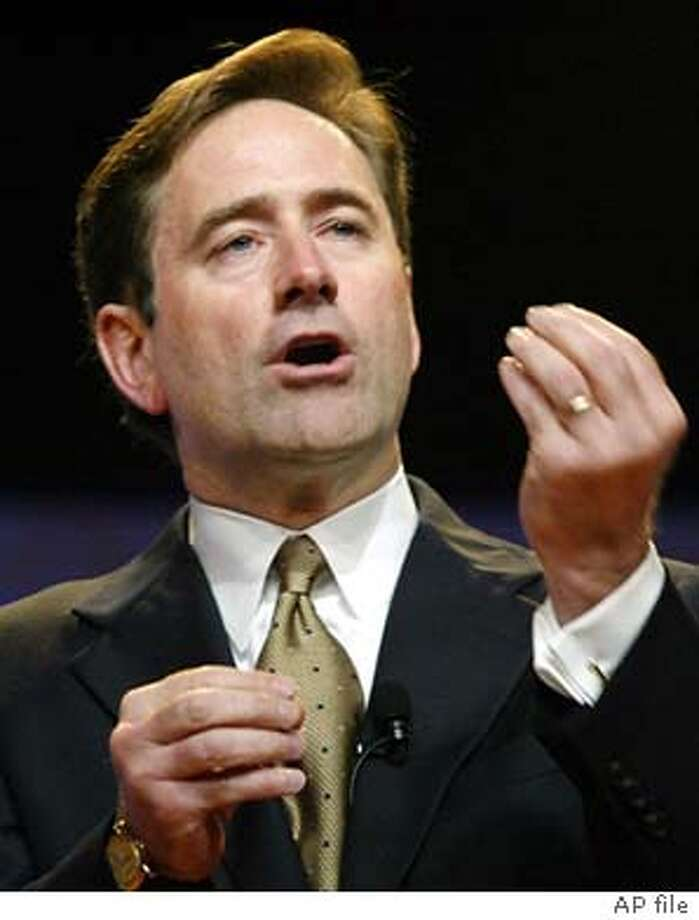 **FILE** Craig A. Conway, president and chief executive officer of PeopleSoft, Inc., is shown in New York, in this June 19, 2003, file photo. Business software maker PeopleSoft Inc. threw a curve ball at unwelcome suitor Oracle Corp. late Friday, Jan. 30, 2004, by accelerating a pivotal shareholder vote that will determine its board of directors. Conway is one of four incumbent directors PeopleSoft wants its shareholders to re-elect in order to preserve the status quo on an eight-member board that has already twice rejected Oracle's overtures. (AP Photo/Stuart Ramson, File) Larry Ellison, CEO of Oracle, left, has just raised the stakes in the battle for PeopleSoft, whose CEO is Craig Conway, right. ProductName	Chronicle Craig Conway, PeopleSoft CEO, wants to stop takeover. Craig Conway, PeopleSoft CEO, wants to stop takeover. Photo: STUART RAMSON