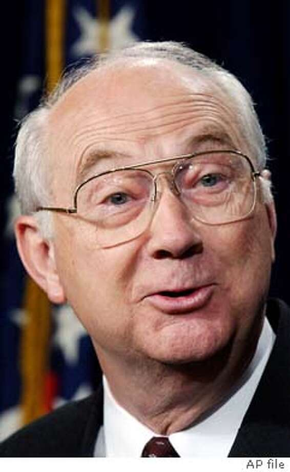 Sen. Phil Gramm, R-Texas, announces his plan to take a job as vice chairman of the investment bank UBS Warburg when he finishes his current term at a news conference on Capitol Hill Monday, Oct. 7, 2002. (AP Photo/Dennis Cook)  ALSO RAN 10/13/02 CAT Photo: DENNIS COOK