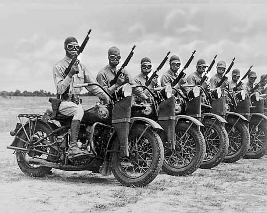 "U.S. troops training for WWII; over 90,000 Harleys were built for the US Army. MUST CREDIT: ""Harley-Davidson Archives"" ONE-TIME USE ONLY; FOR USAGE FEES AND RIGHTS FOR FURTHER USE CONTACT: BILL JACKSON (414) 343-8973"