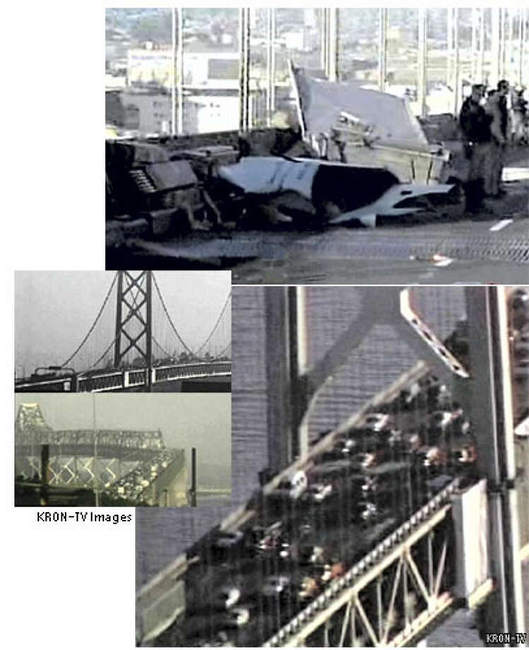 A truck accident near the Fremont Street exit on the westbound upper deck of the Bay Bridge caused lane closures at the beginning of the morning commute, Wednesday. Traffic to and over the span was slowed to a crawl for hours afterward. Television images via KRON-TV