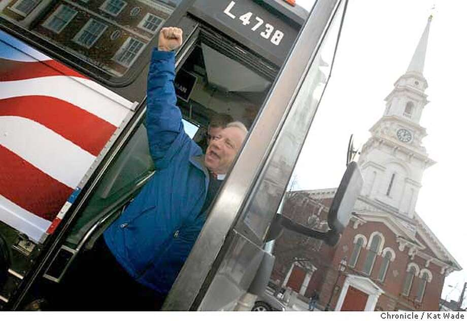 On Friday, Connecticut Senator Joe Lieberman gets off his campaign bus in front of Portsmouth historic North Church to meet voters with his wife Hadassah (NOT PICTURED and PLEASE CHECK SPELLING) fora noon time Main Street Walk on 1/23/04 in Portsmouth, Newhampshire 45 miles east of Manchester. Kat Wade / The Chronicle MANDATORY CREDIT FOR PHOTOG AND SF CHRONICLE/ -MAGS OUT Photo: Kat Wade