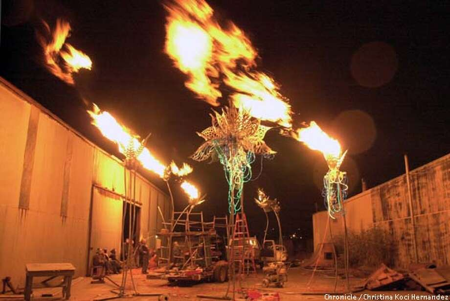 CHRISTINA KOCI HERNANDEZ/CHRONICLE 50 feet flames fly out of the metal lotus flowers during the test firing. Jenne Giles, Paul Cesewski and other locals test fire water lily sculpture that will be brought to Burning Man this year. Photo: CHRISTINA KOCI HERNANDEZ