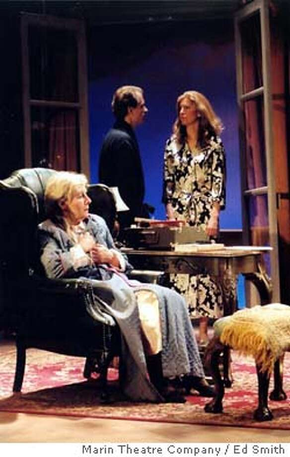 My Old Lady, Marin Theatre Company / Ed Smith's upcoming Production Chloe Giffard (played by Nancy Carlin), and Mathias Gold (played by Anthony Fusco) talk in the background as Mathilde Giffard (played by Joy Carlin) listens in.� Event on 3/12/04 in . Ed Smith / HO Photo: Ed Smith