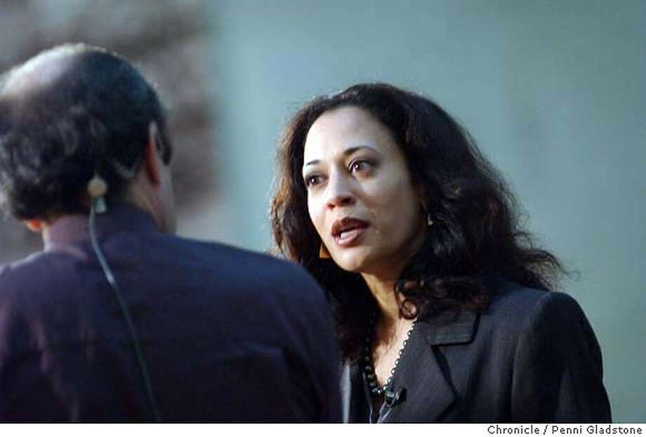 DAHARRIS142_pg.jpg  Kamala Harris the new DA. Day after election doing a TV interview inside city hall.  12/10/03 in San Francisco.  PENNI GLADSTONE / The Chronicle &quo;Calendar Girls&quo; stars Helen Mirren (second from left) and Julie Walters (third from left) between Trisha Stewart (far left) and Angela Baker, who inspired the lead characters in the film. Protecting freedoms: San Francisco's new district attorney, Kamala Harris, believes in protecting citizens from violent crime without violating their constitutional freedoms. ProductName	Chronicle ProductName	Chronicle San Francisco District Attorney Kamala Harris has opened the third investigation of the city's recent mayoral election. Photo: PENNI GLADSTONE
