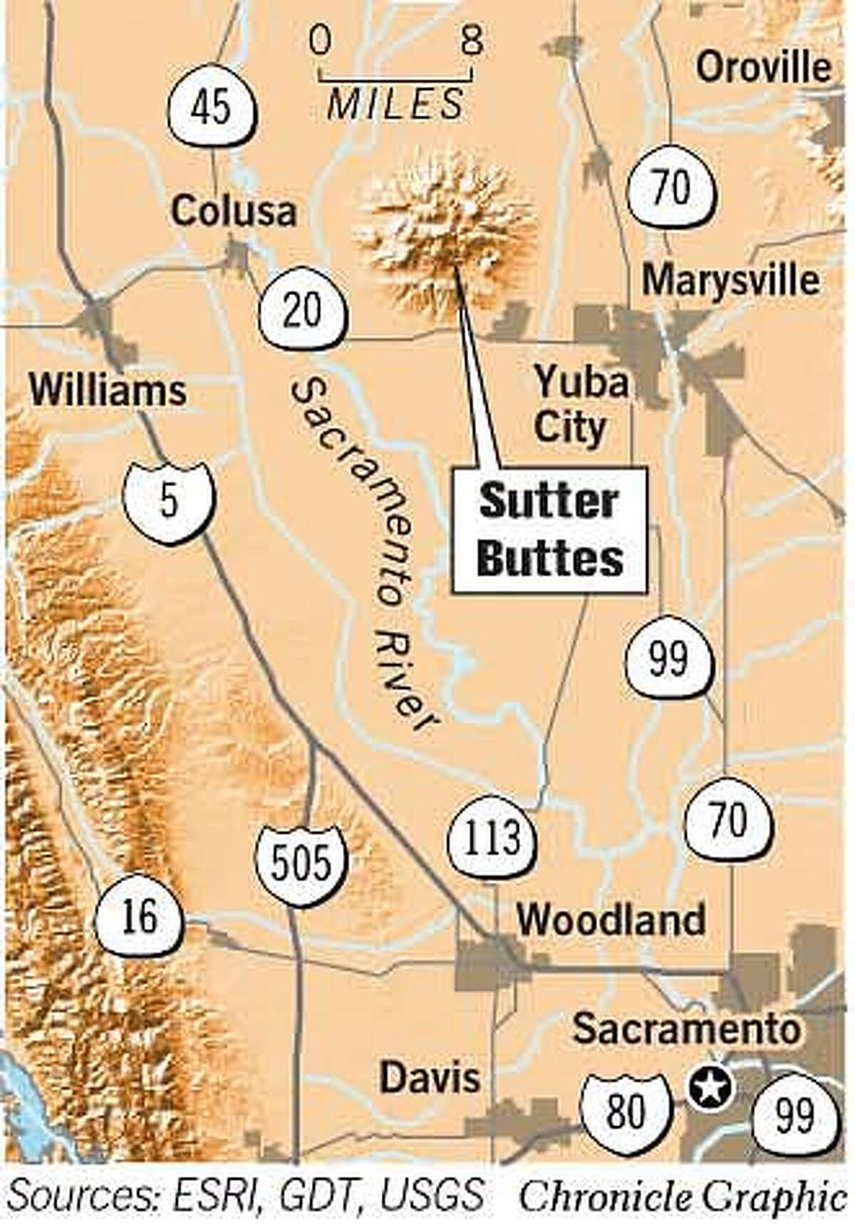 Sutter Buttes. Chronicle Graphic