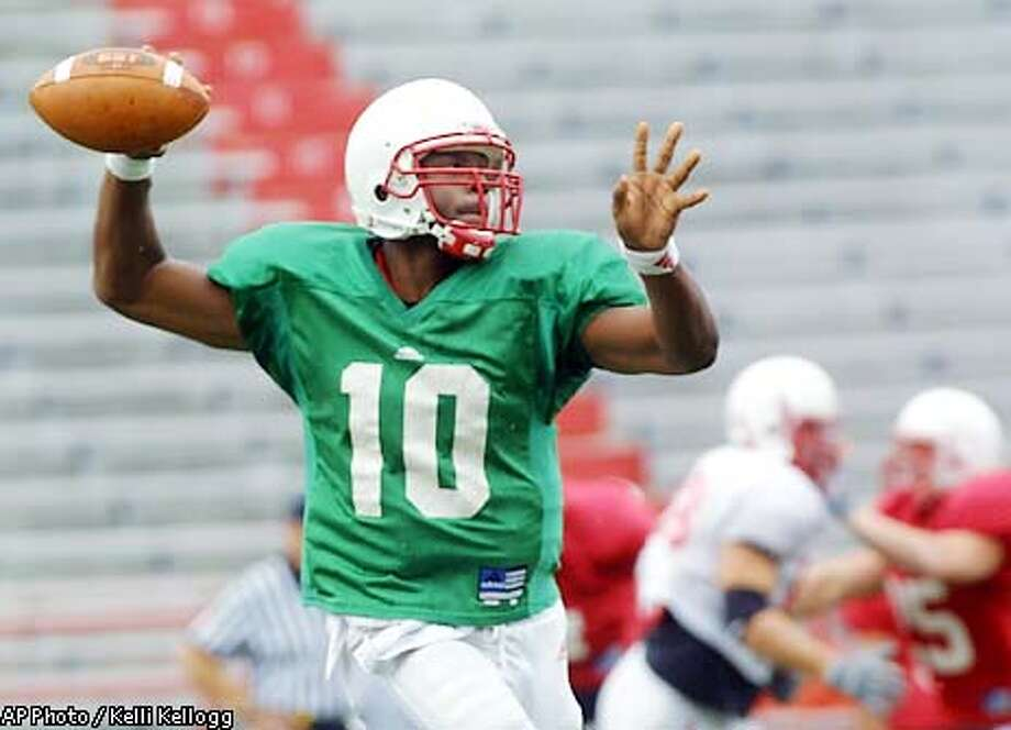 Nebraska quarterback Jammal Lord throws a pass during an intrasquad scrimmage on Friday, Aug. 16, 2002, at Memorial Stadium in Lincoln, Neb. Florida State and Nebraska begin the season in the uncomfortable position of defending their reputations instead of a championship. The Seminoles and Cornhuskers have won two national titles apiece since 1993, but both teams are coming off dismal years.(AP Photo/Kelli Kellogg) Photo: KELLI KELLOGG