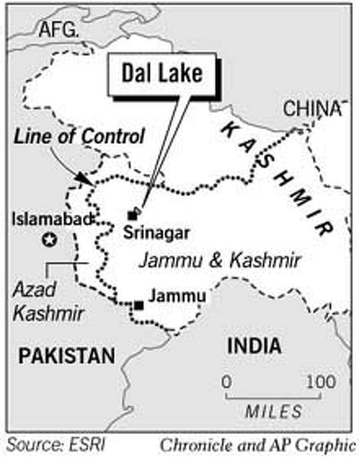 Dal Lake, Kashmir. Chronicle and AP Graphic