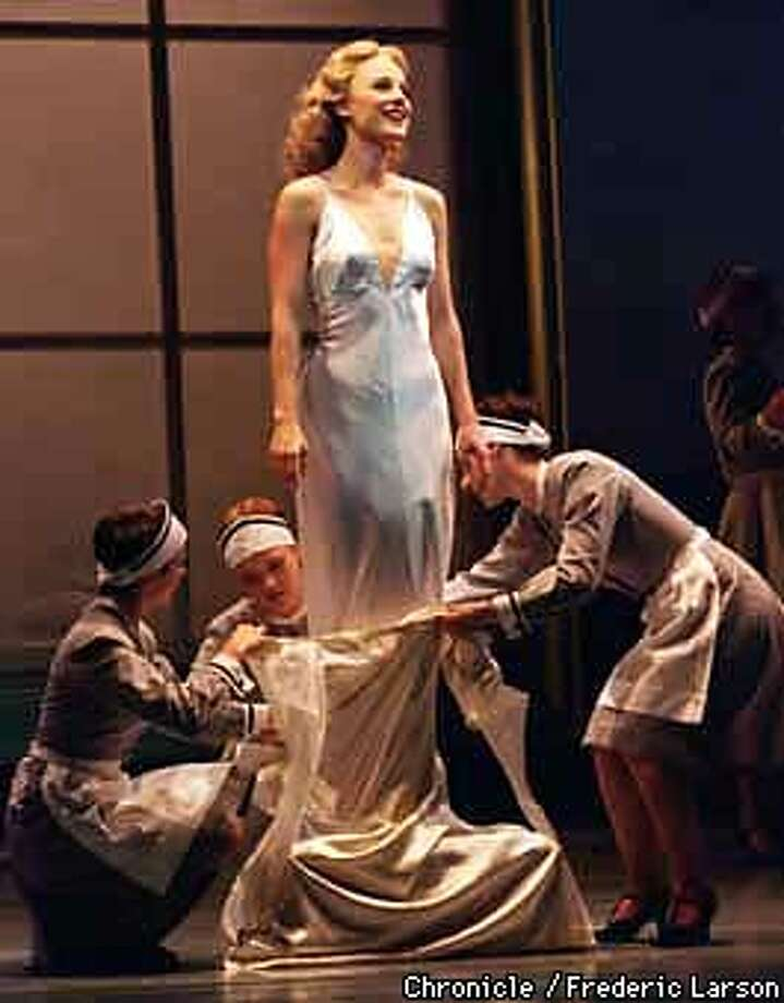 "HIGH SOCIETY/C/04SEP97/DD/FRL: Actress Melissa Errico playing the lead role as Tracy Lord in ""High Society,"" at the Geary Theatre, SF. Chronicle photo by Frederic Larson"