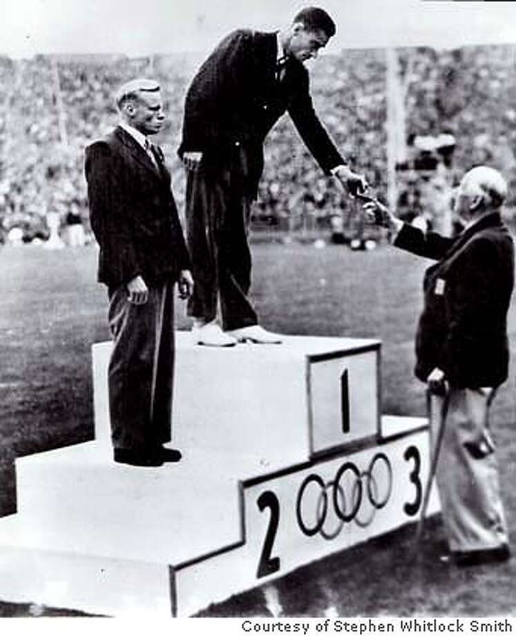 Here is a picture of my father Owen Guinn Smith receiving the Olympic Gold Medal for the Pole Vault in London 1948  representing the USA and competing for the Olympic Club of San Francisco. Stephen Whitlock Smith, MD Telephone 253-576-6746
