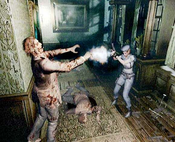 "Here's an old-school shot from ""Resident Evil"" for Game Cube."